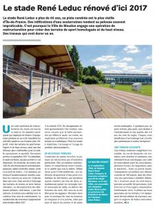 Article sur la rénovation du stade René-Leduc - Magazine Chloroville Septembre 2016